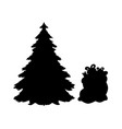 silhouette christmas trees and gifts vector image vector image