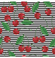 striped seamless pattern with cherry vector image vector image