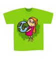 t-shirt print design girl save planet vector image vector image