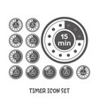 timer icon set simple flat style vector image