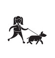 walk the dog black concept icon walk the vector image