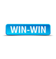 win-win blue 3d realistic square isolated button vector image vector image
