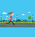 woman running on road in city park vector image vector image