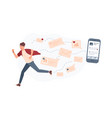 young man running away from giant smartphone and vector image