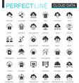 black classic data cloud technology web icons set vector image