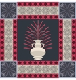 Oriental carpet vase and leaf decor element vector image