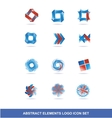 Corporate business blue red logo elements set vector image