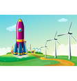 A hilltop with a rocket near the windmills vector image vector image