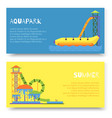 aquapark attraction slide or waterpark with vector image