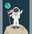 astronaut with flag on moon vector image vector image