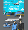 aviation airport airplanes and aircrew poster vector image vector image