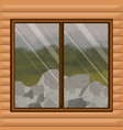 background interior wooden cabin with forest with vector image vector image