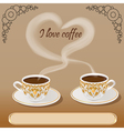 background with a fresh cup aromatic coffee vector image vector image