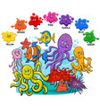 basic colors with sea life animal characters group vector image vector image