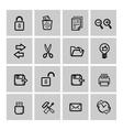 black web icons set vector image vector image