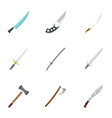 bladed weapon icon set flat style vector image vector image