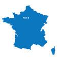 blue similar france map with capital city paris d vector image vector image