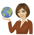 brunette businesswoman holding the globe vector image vector image