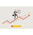 Businessman climbing graph protects the shield vector image vector image