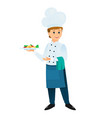 cartoon chef with a plate of dinner vector image vector image