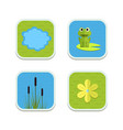 cartoon garden pond icons with water vector image