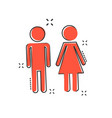 cartoon man and woman icon in comic style wc sign vector image