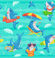 cartoon shark seamless pattern - funny cute blue vector image