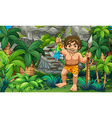 Caveman catching lizard in the forest vector image vector image