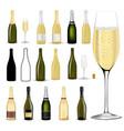 champagne set bottles sparkling wine vector image
