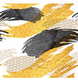 chinese brush stroke template with gold and black vector image