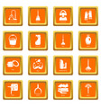 cleaning tools icons set orange square vector image vector image