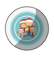 color circle with middle shadow sticker with vector image