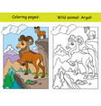 coloring book page and color template argali vector image