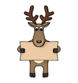 Cute hand drawn deer with blank banner vector image vector image