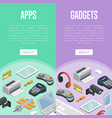 gadgets and mobile apps isometric posters vector image vector image