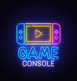 game console neon sign bright signboard vector image vector image
