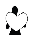 girl holding heart silhouette vector image vector image