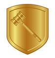 gold hammer symbol logo in golden shield lawyer or vector image