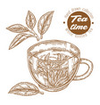 hand drawn cup tea white knitted tea isolated vector image