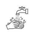 hand washing with tap water line icon vector image
