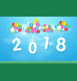 happy new year 2018 with colorful balloons flying vector image vector image