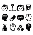 Headache migraine - medical icons set vector image vector image