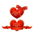 Heart with ribbon and bow vector image vector image