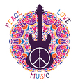 hippie peace symbol and guitar vector image