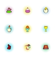 Holiday Easter icons set pop-art style vector image vector image