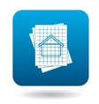 House blueprint icon in simple style vector image