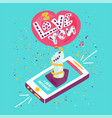 i love you hand drawn lettering vector image