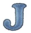 Jeans alphabet Denim letter J vector image vector image