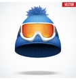 Knitted woolen red cap with snow goggles vector image vector image