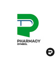 Letter P pharmacy medicine logo with medicament vector image vector image